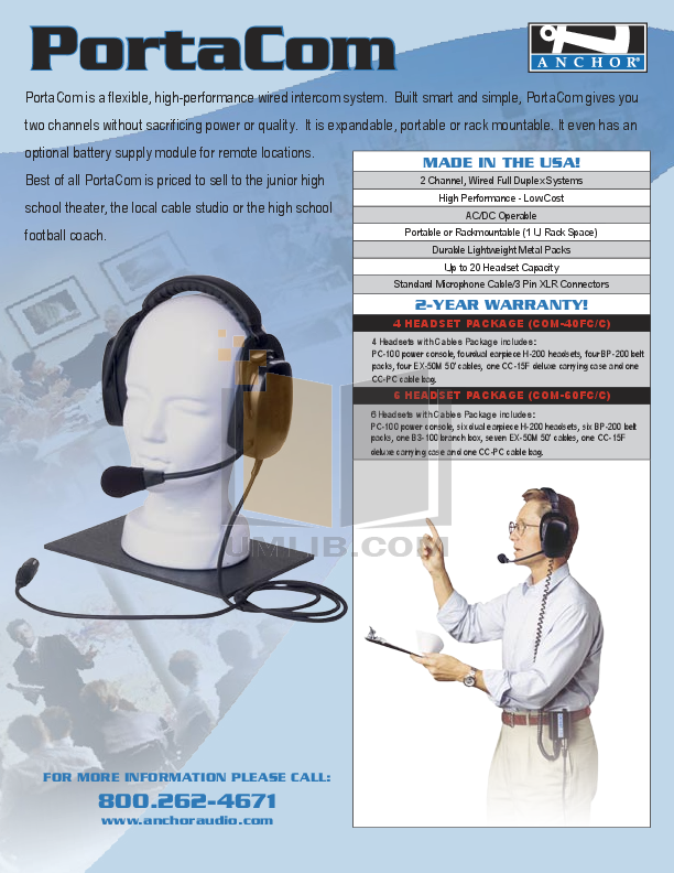 pdf for Anchor Headset MIC-50 manual