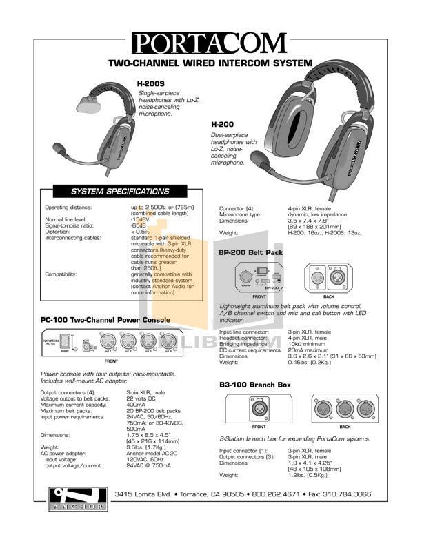 Anchor Headset MIC-50 pdf page preview