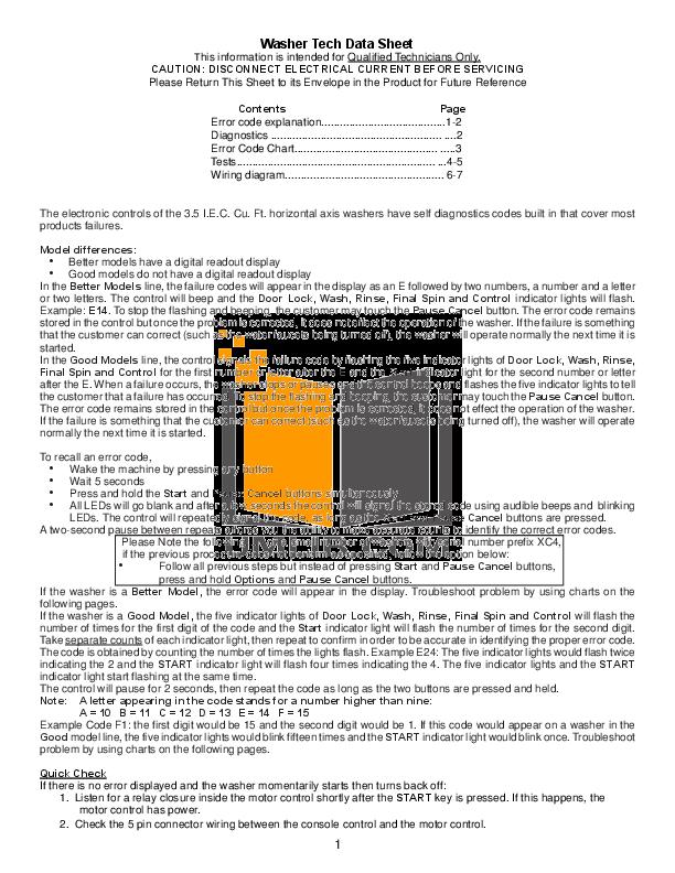pdf for Frigidaire Washer GLTF2940ES2 manual