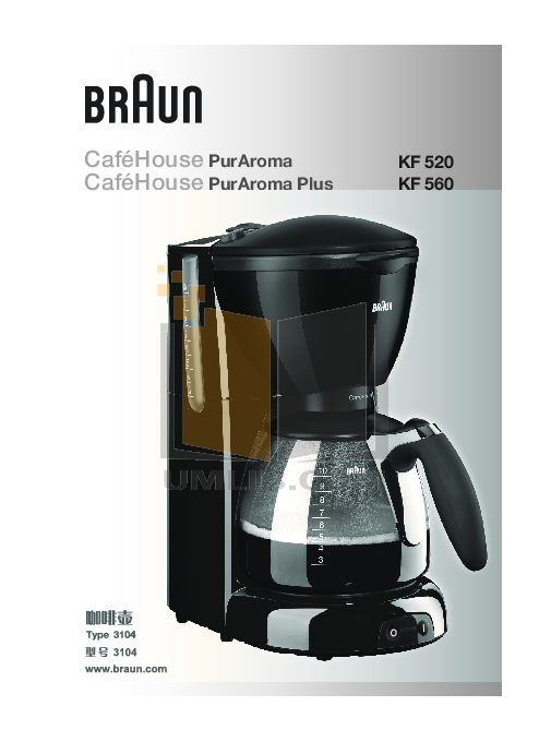 pdf for Braun Coffee Maker KF560 manual