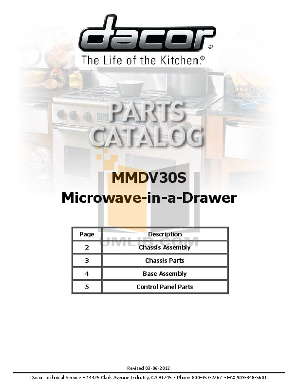 pdf for Dacor Microwave MMDV30S manual
