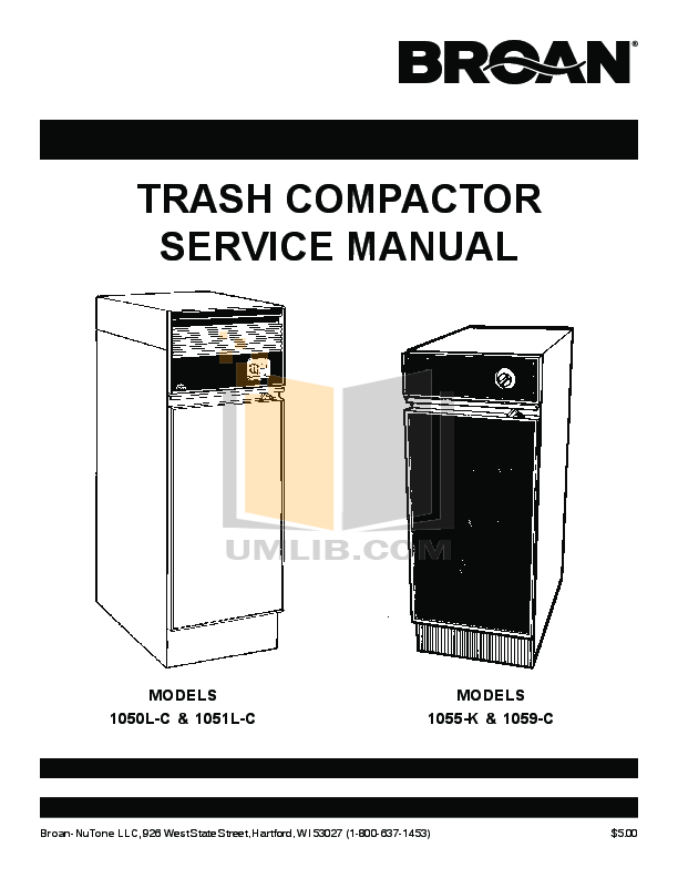 pdf for Broan-NuTone Other 15BL Trash Compactors manual