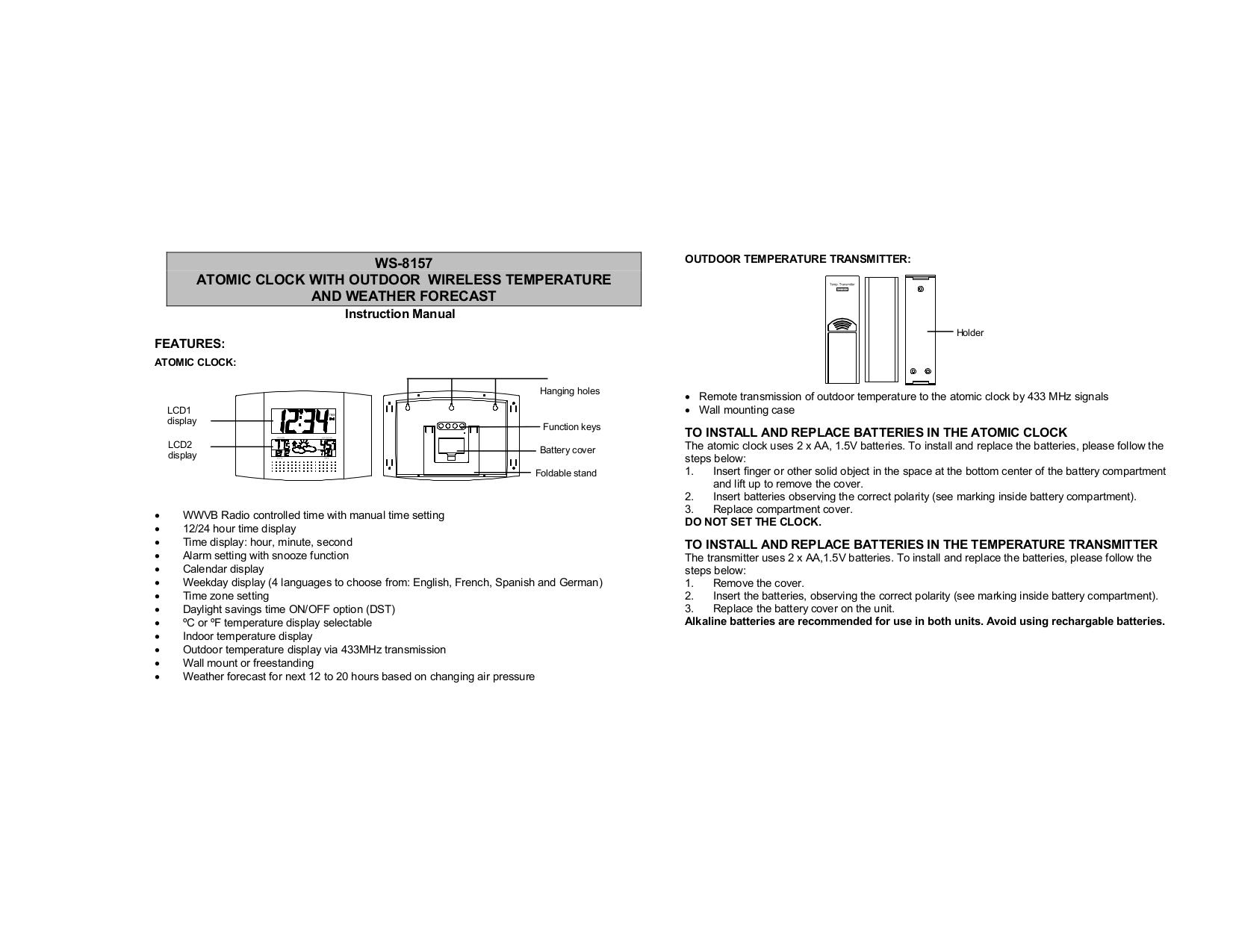 pdf for Lacrosse Other WS-8157U-A Digital Atomic Clock manual