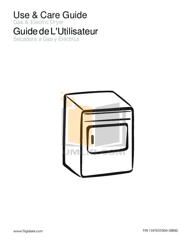 pdf for Frigidaire Dryer GLEQ2152ES manual