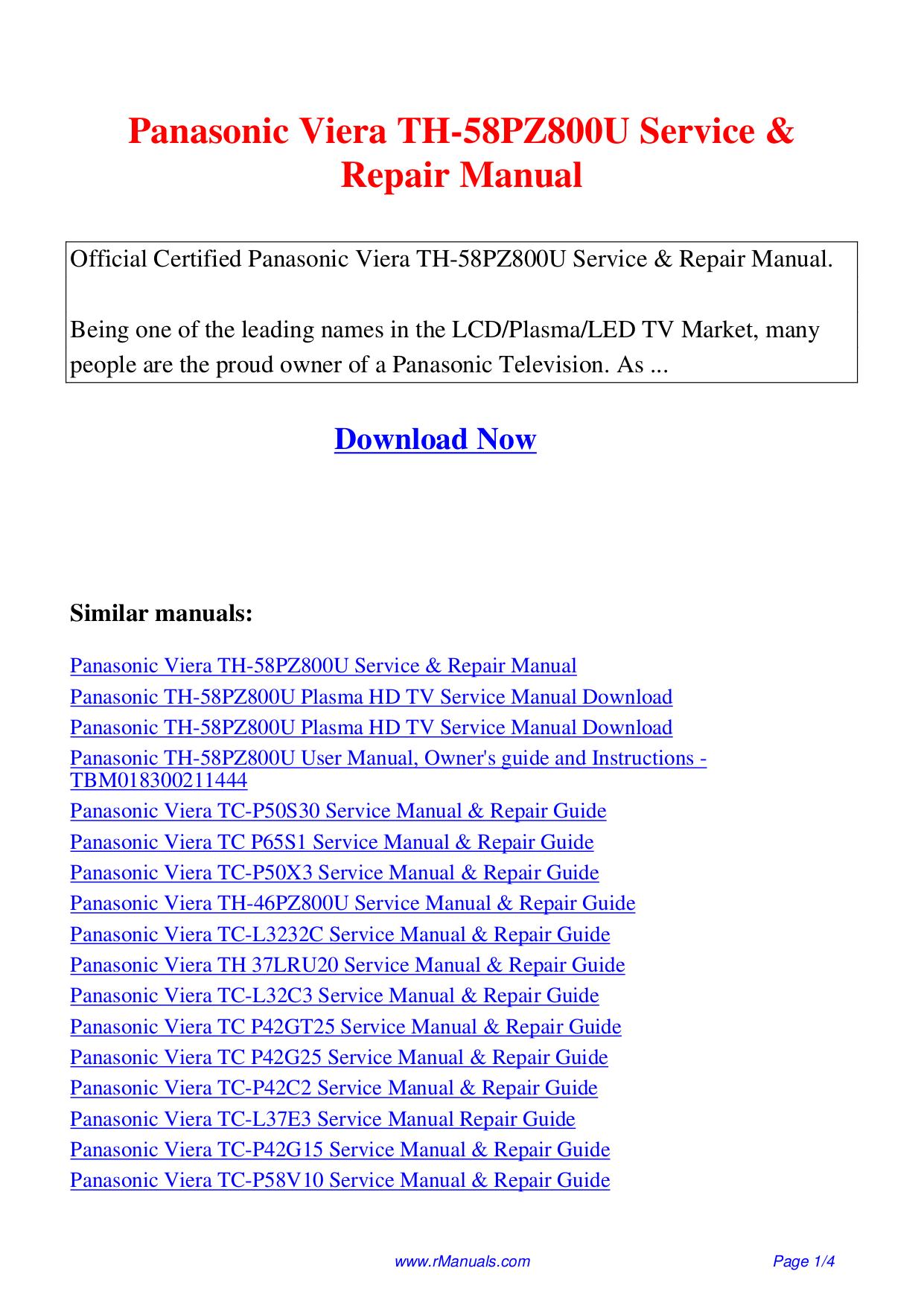 pdf for Panasonic TV Viera TC-L42U22 manual