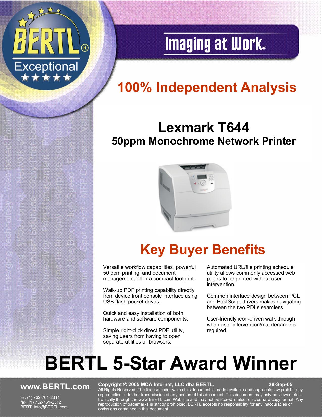 Lexmark Printer T644dtn pdf page preview
