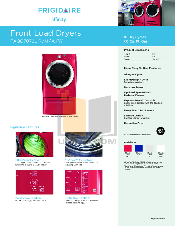 pdf for Frigidaire Dryer Affinity FAQG7072L manual