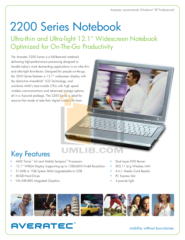 pdf for Averatec Laptop AV2260-EH1 manual