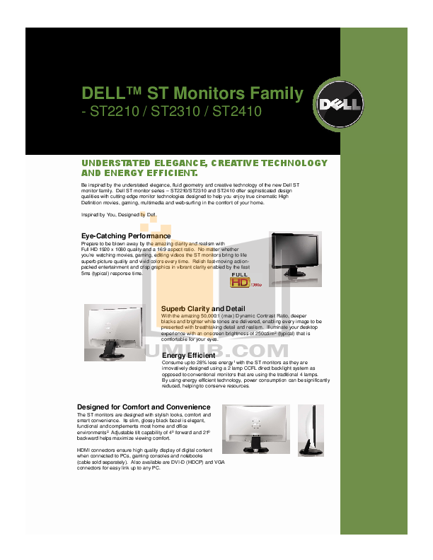 pdf for Dell Monitor ST2310 manual