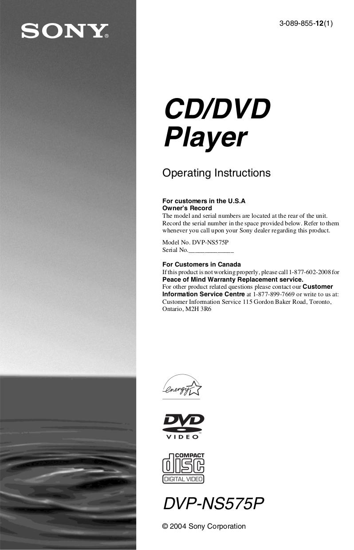 download free pdf for sony dvp ns575p dvd players manual rh umlib com sony tv manuals sony tv manuals uk