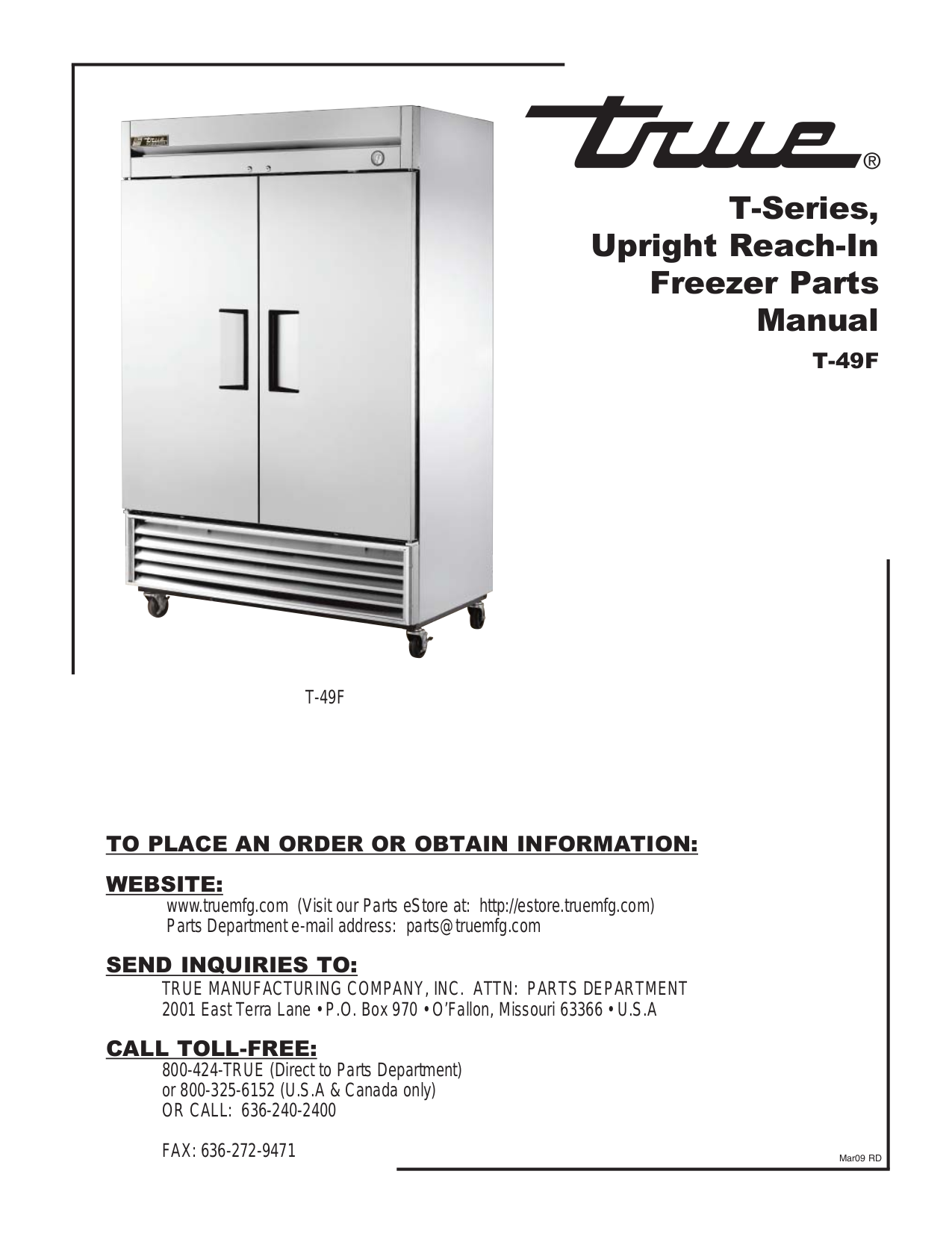 pdf for True Refrigerator T-49 manual