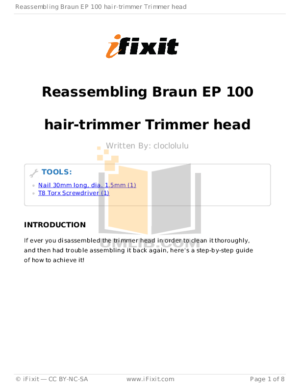 pdf for Braun Other EP 100 Trimmers manual