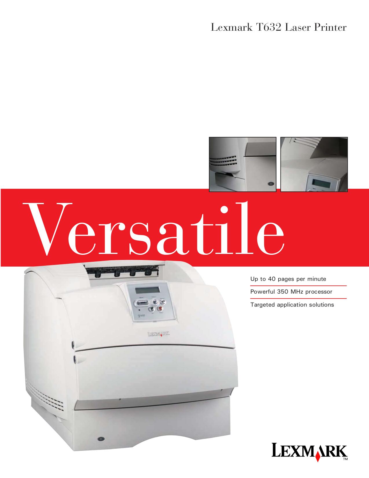 pdf for Lexmark Printer T632 manual