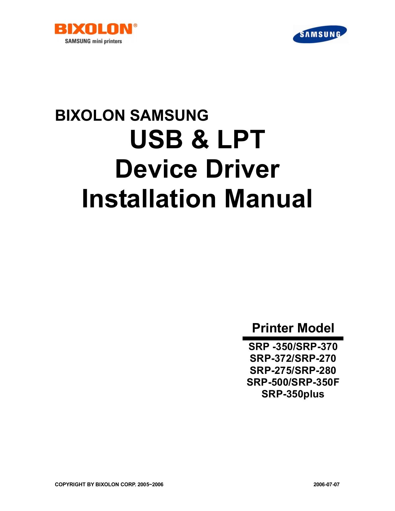 pdf for Samsung Printer SRP-500 manual