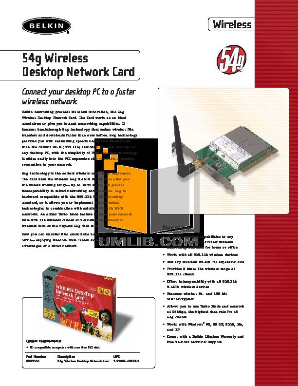 pdf for Belkin Router F5D7000 manual