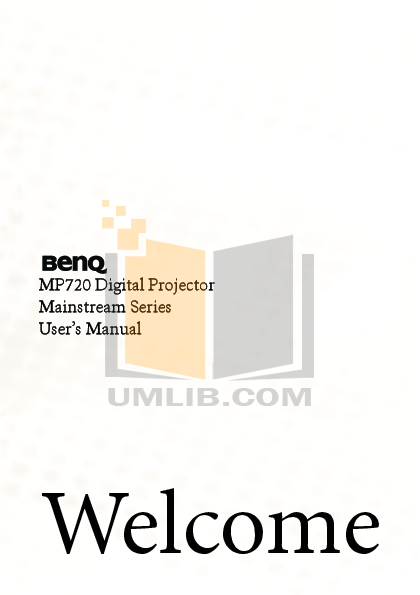 pdf for Benq Projector MP720p manual