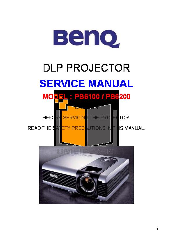 pdf for Benq Projector PB6200 manual