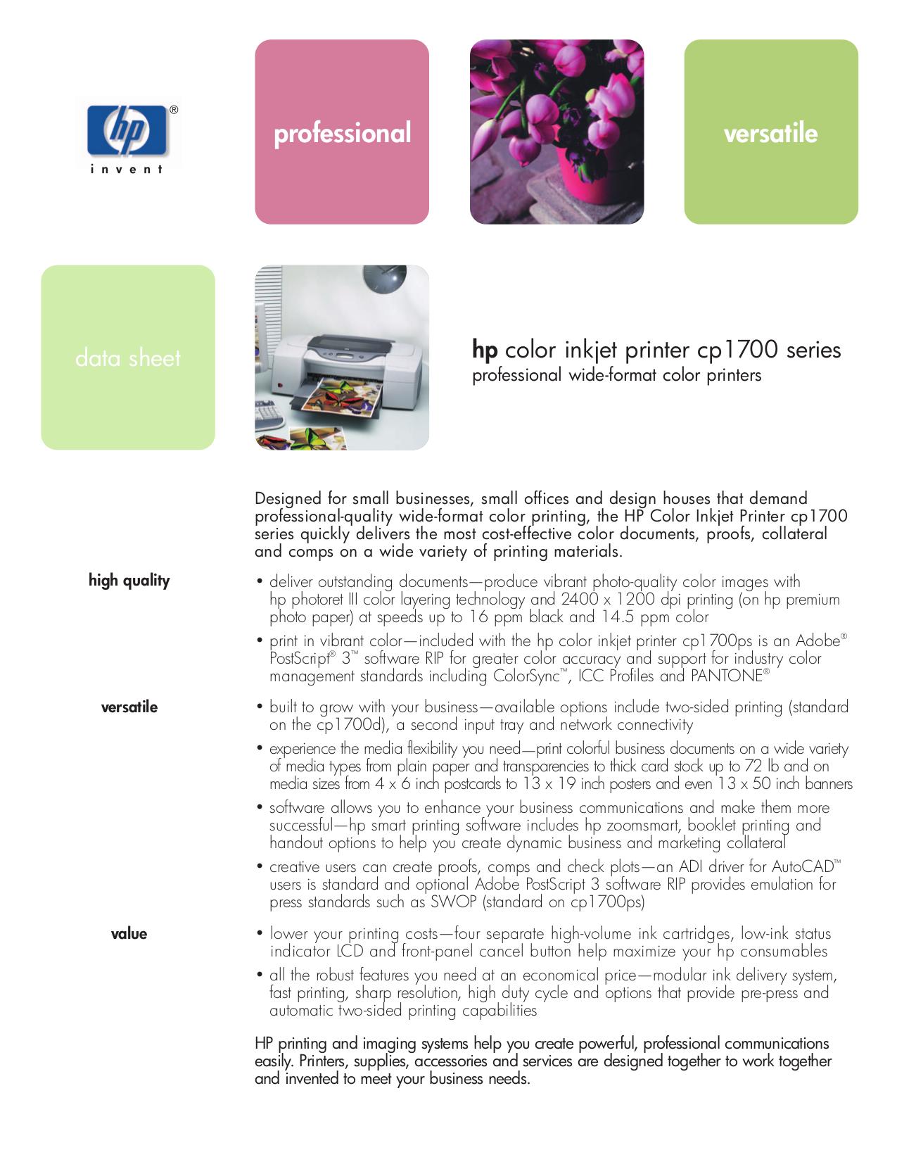 Color printing bu - Pdf For Hp Printer Business Inkjet Cp1700d Manual