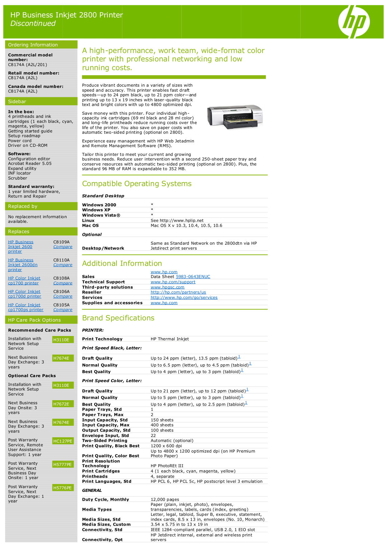 pdf for HP Printer Business Inkjet cp1700d manual