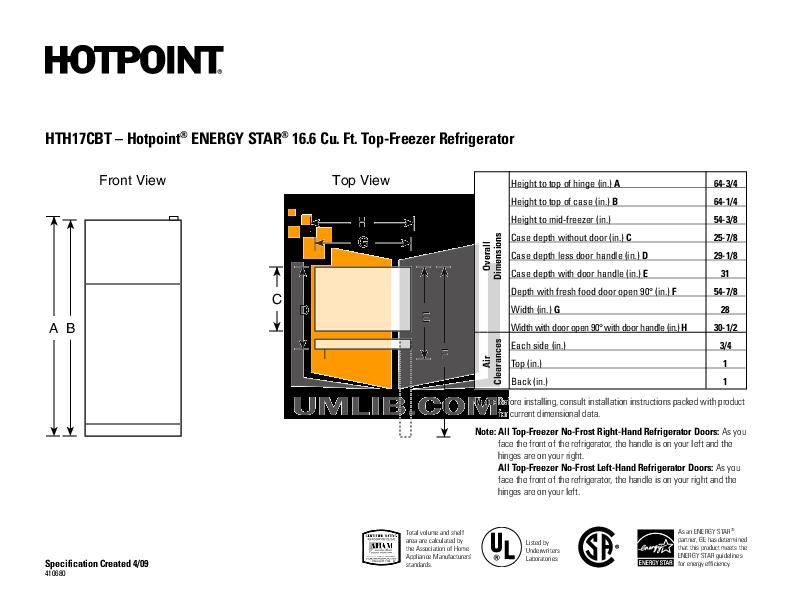 pdf for Hotpoint Refrigerator HTJ17CBTSA manual