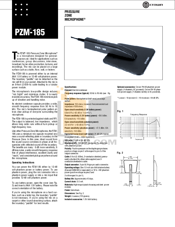 pdf for Crown Other PZM-10 Microphones manual