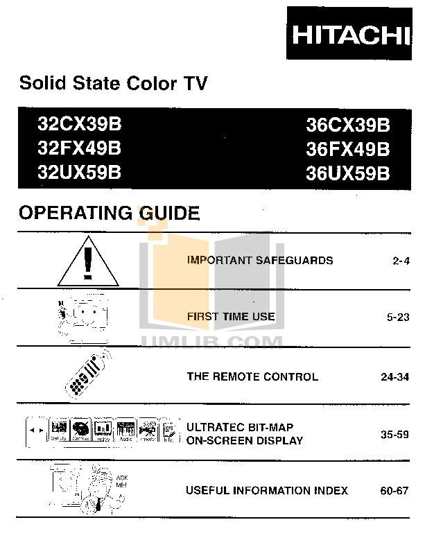 pdf for Hitachi TV 32UX59B manual