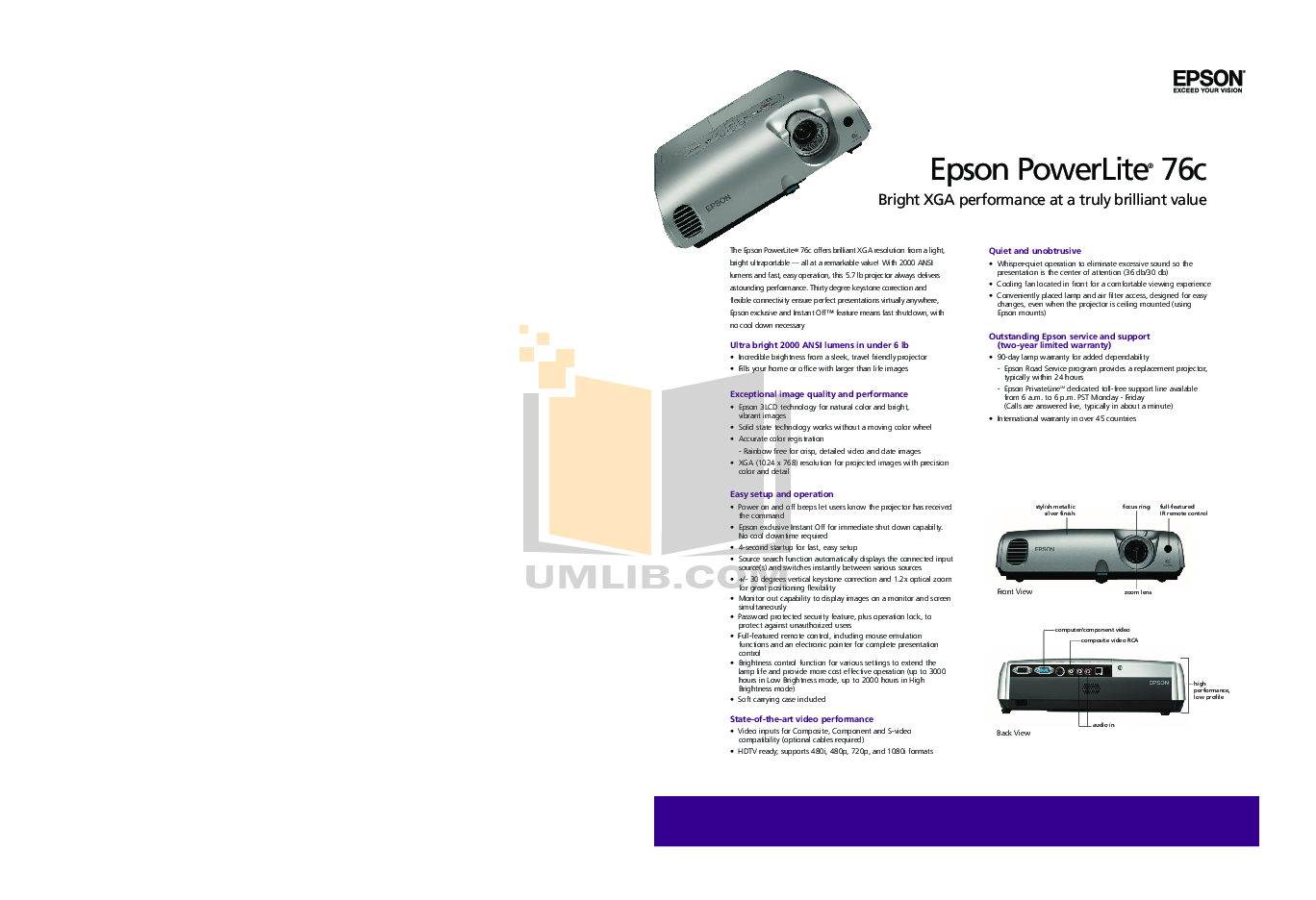 pdf for Epson Projector PowerLite 76c manual