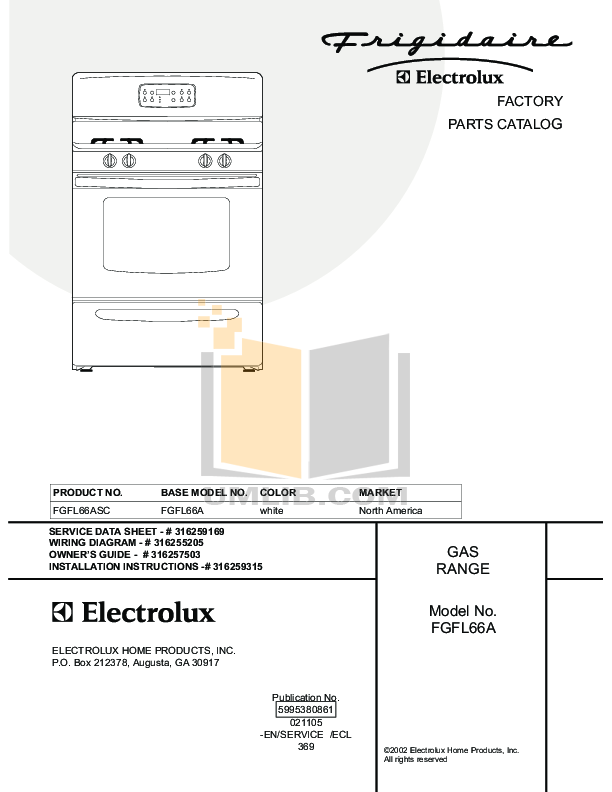 pdf for Frigidaire Range FGFL66ASC manual