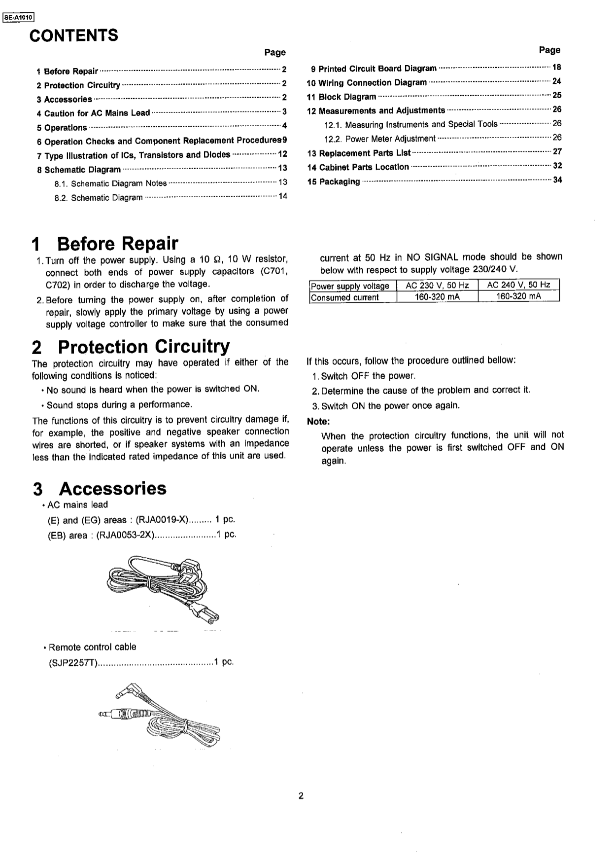 Pdf Manual For Panasonic Amp Se A1010 Wiring Diagram Page Preview