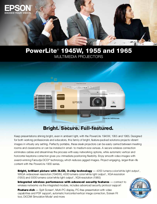 pdf for Epson Projector PowerLite 4200W manual