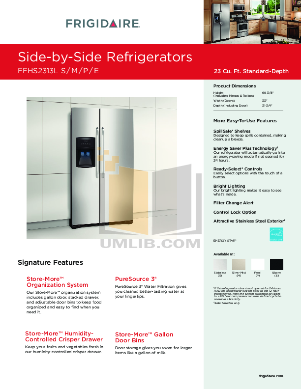 pdf for Frigidaire Refrigerator FFHS2313L manual