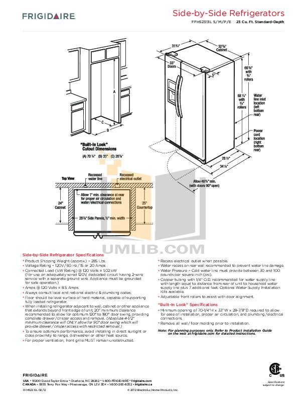 Frigidaire Refrigerator FFHS2313L pdf page preview