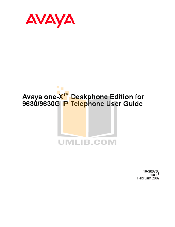 pdf for Avaya Telephone 9630 manual