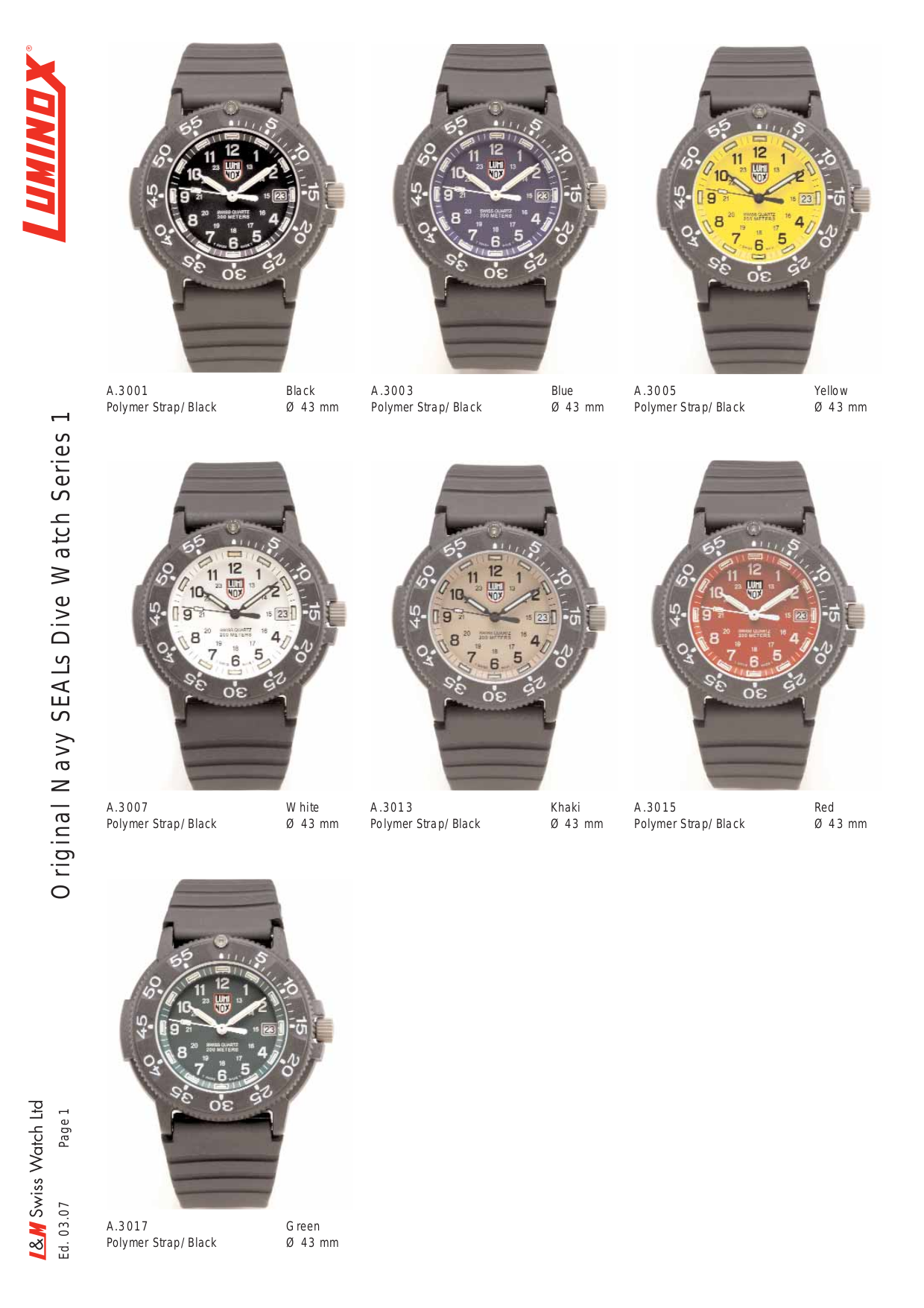 pdf for Luminox Watch Navy SEAL 3103 manual