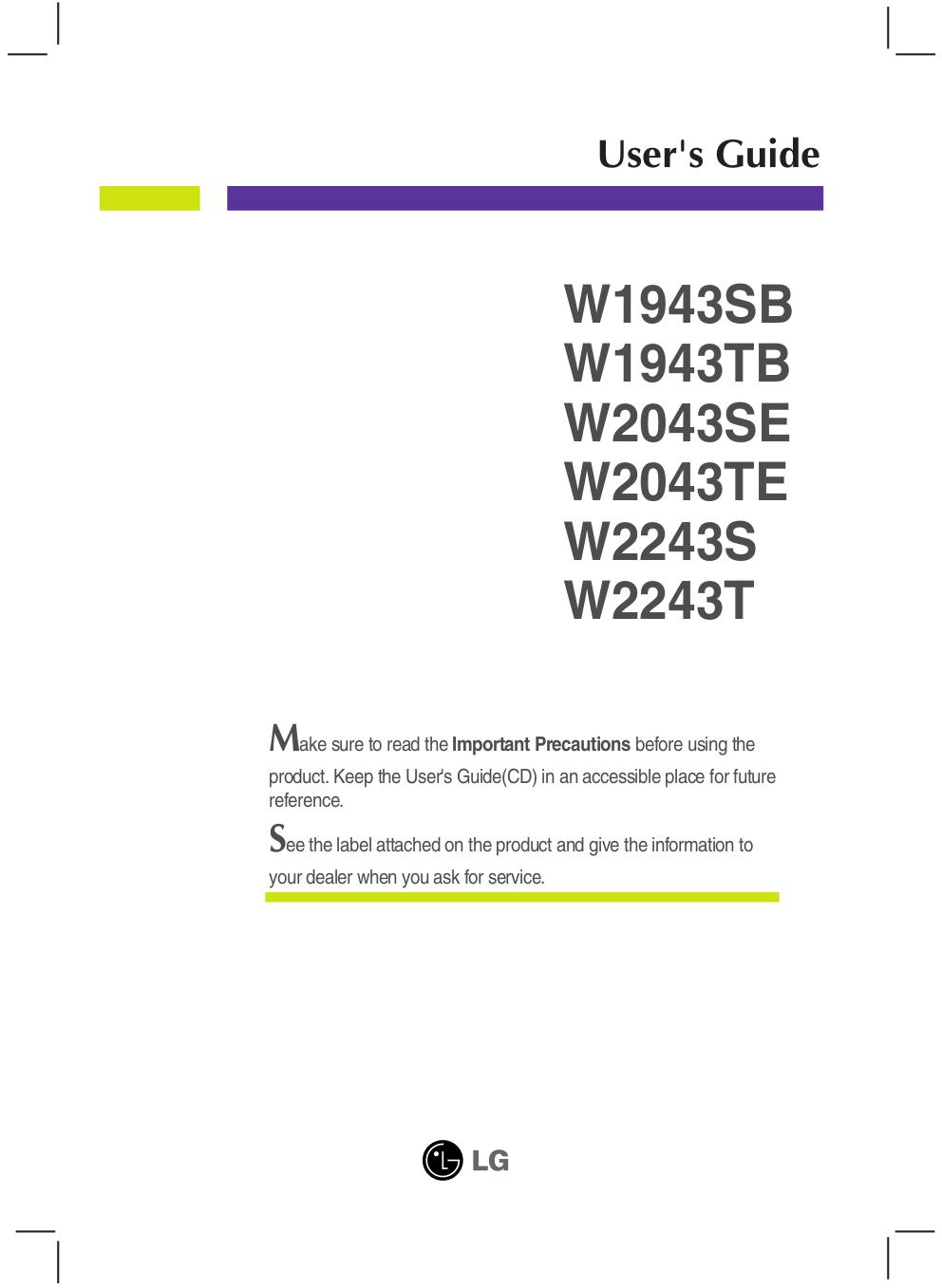 pdf for LG Monitor W1943SB manual