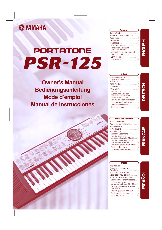 pdf for Yamaha Music Keyboard PSR-125 manual