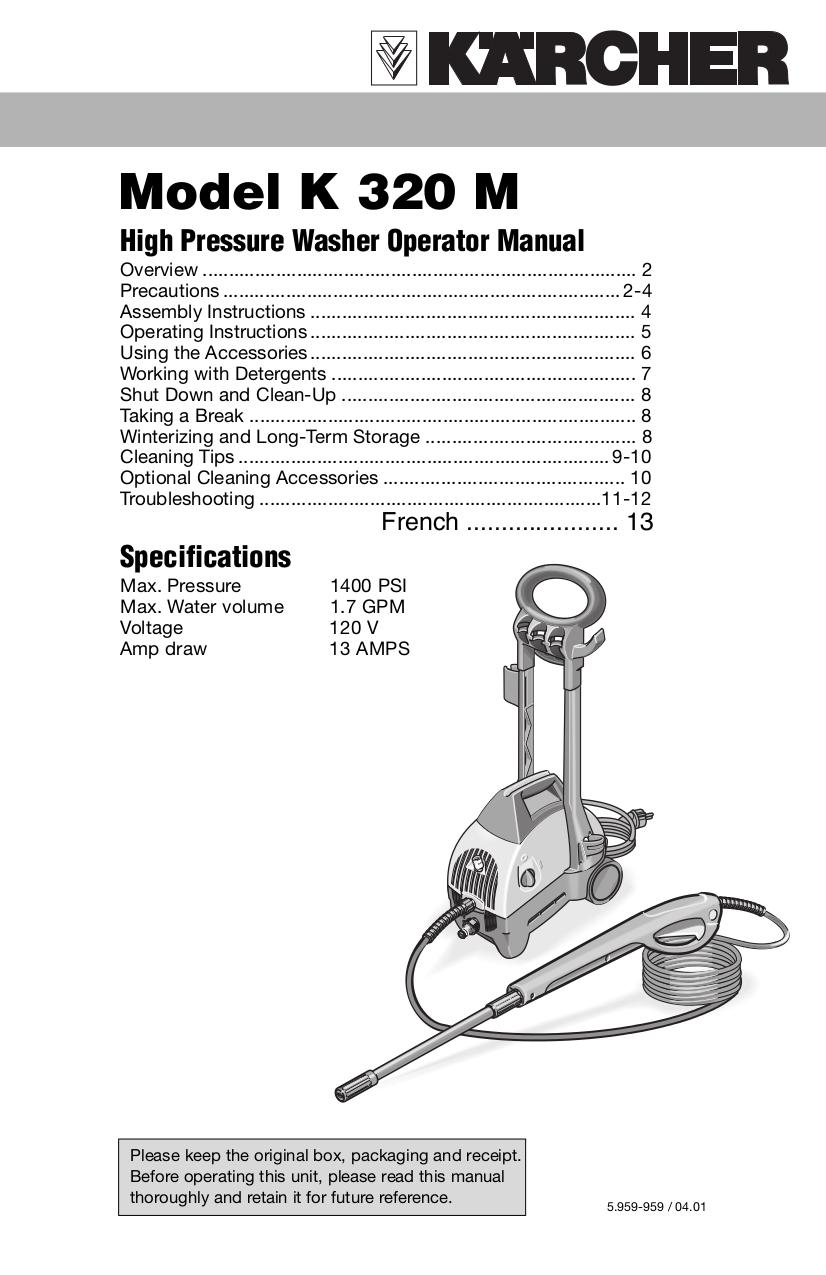 Download Free Pdf For Karcher K 320 M Pressure Washers