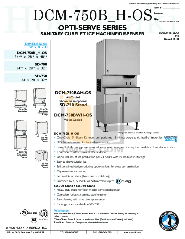 pdf for Hoshizaki Other DCM-750BWH-OS Ice Dispensers manual