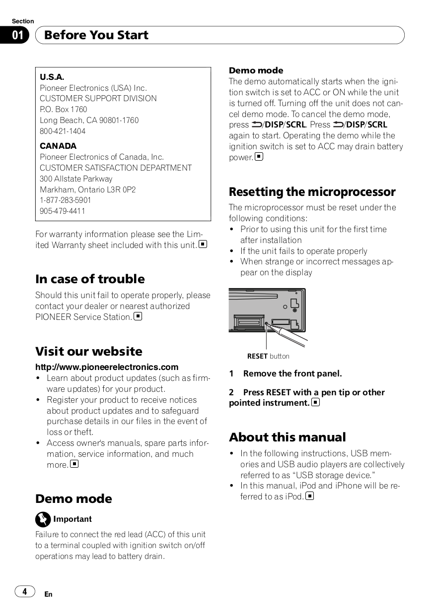 PDF manual for Pioneer Car Receiver DEH-9