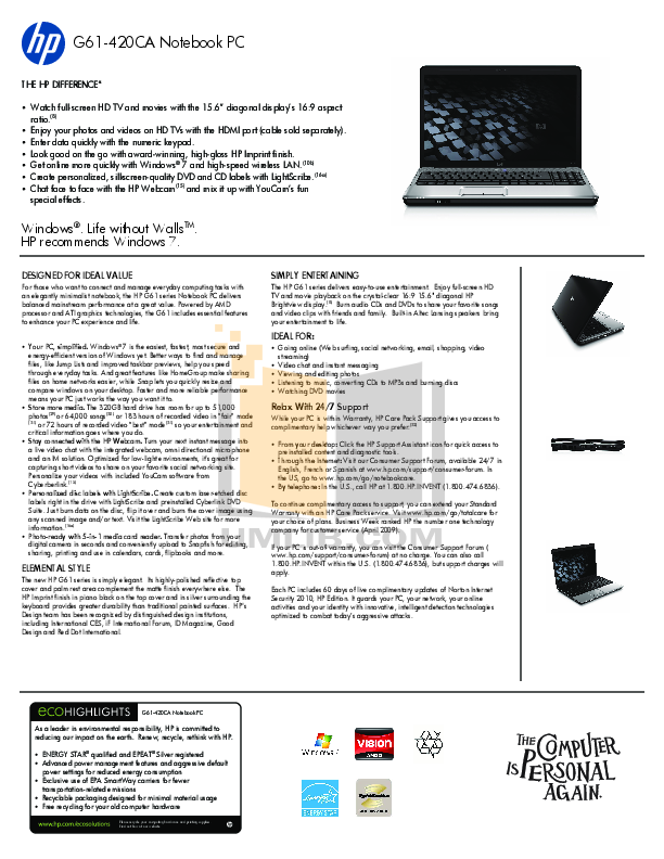 pdf for HP Laptop G61-320 manual