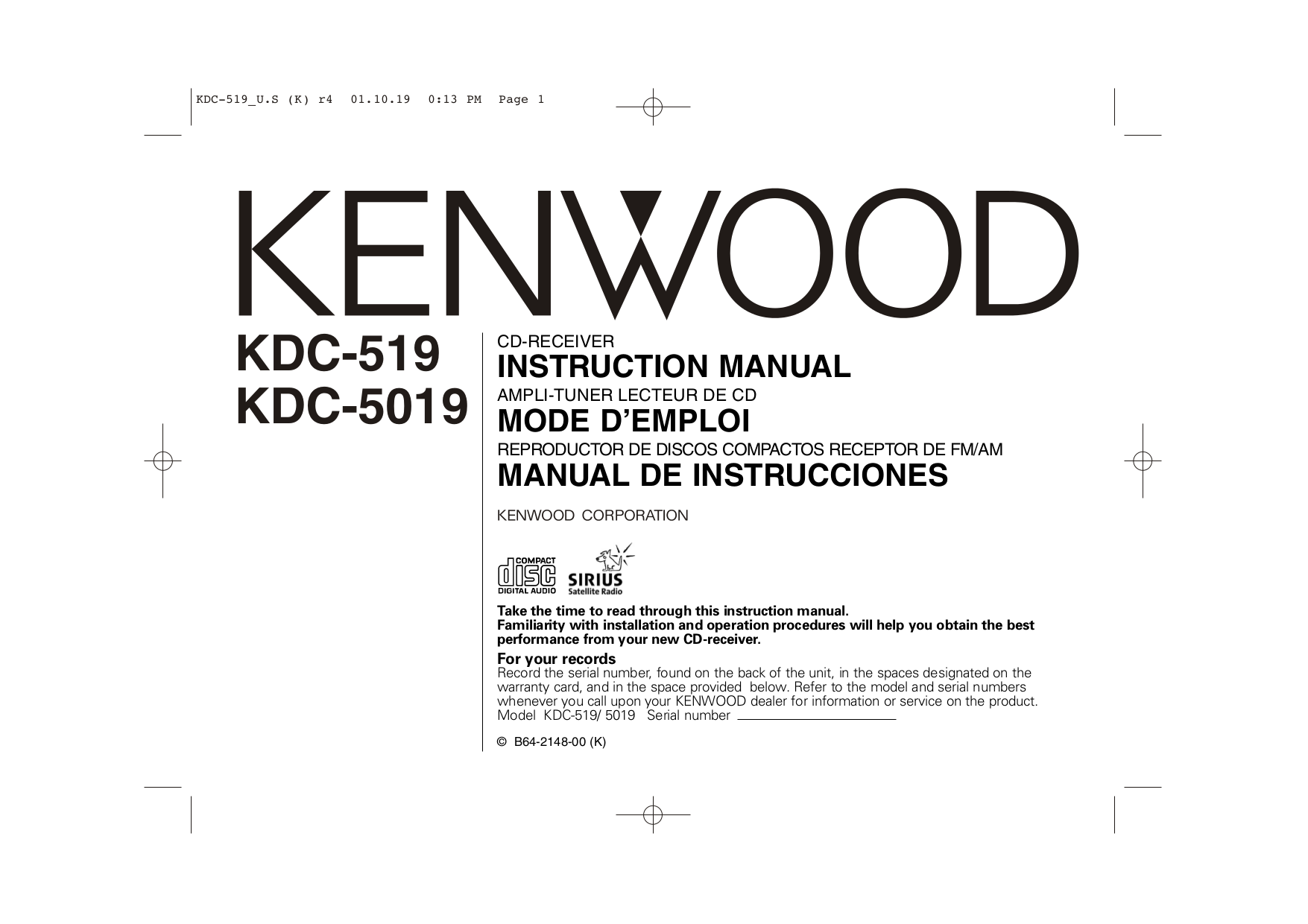 download free pdf for kenwood kdc