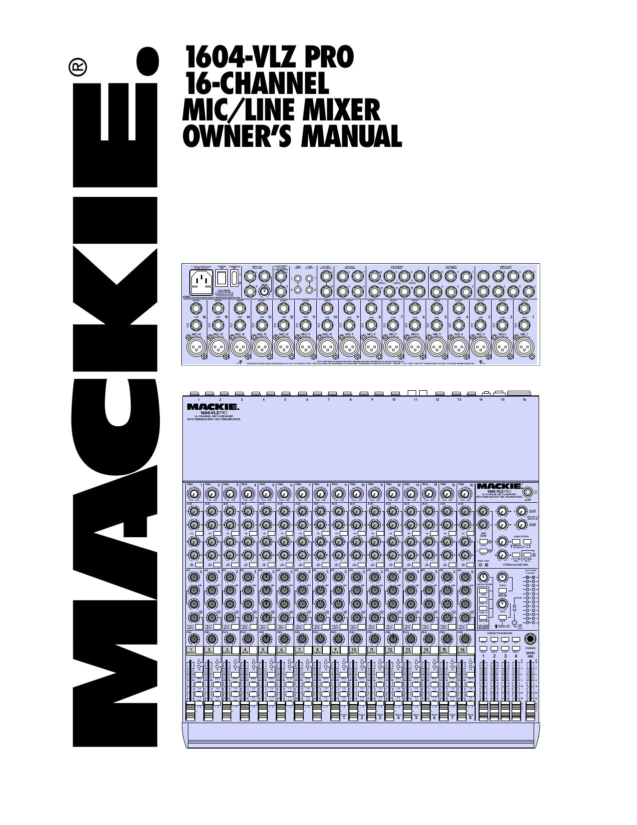 download free pdf for mackie 1604 vlz pro line mixer other manual rh umlib com mackie cfx mkii series owner's manual mackie d8b owners manual