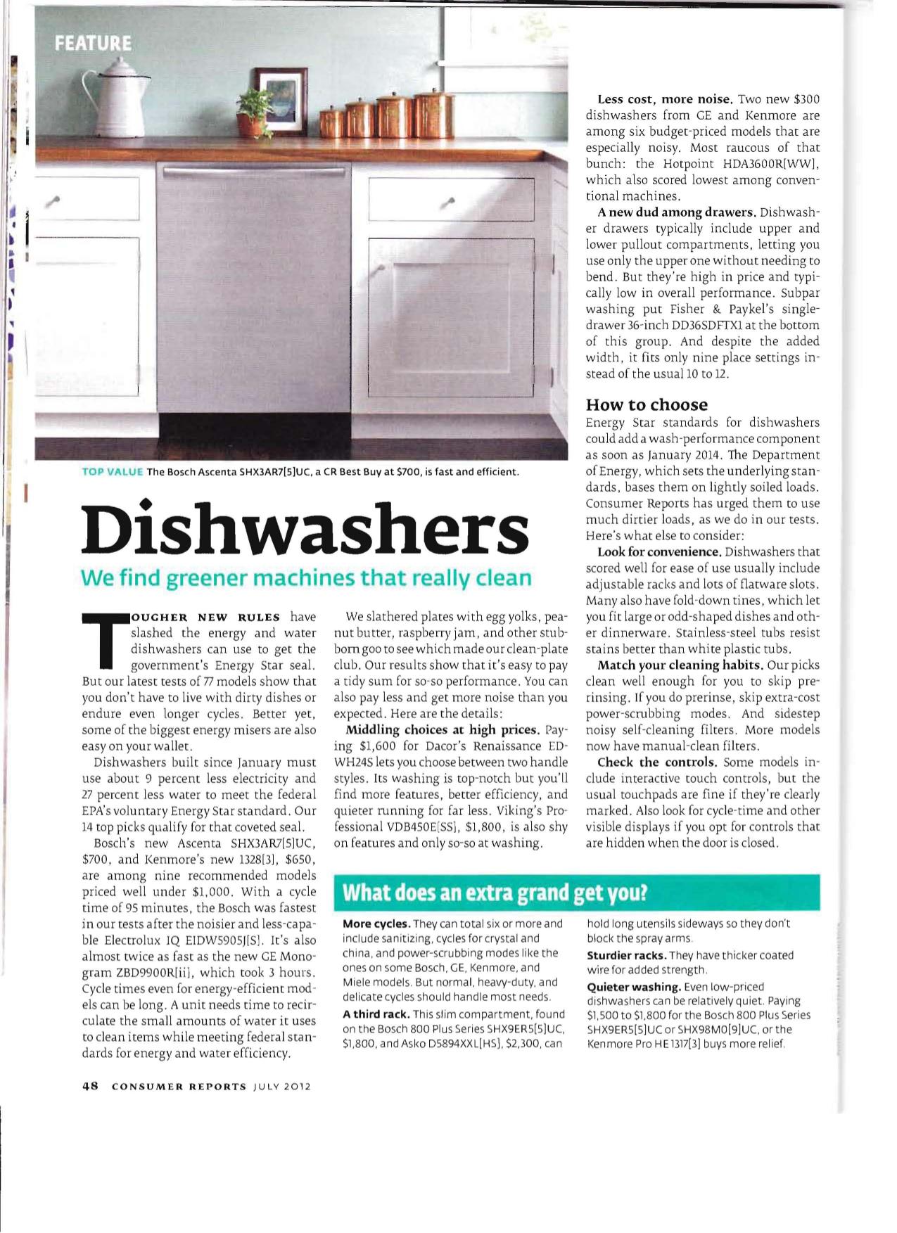 ... Kitchenaid Dishwasher Consumer Reports