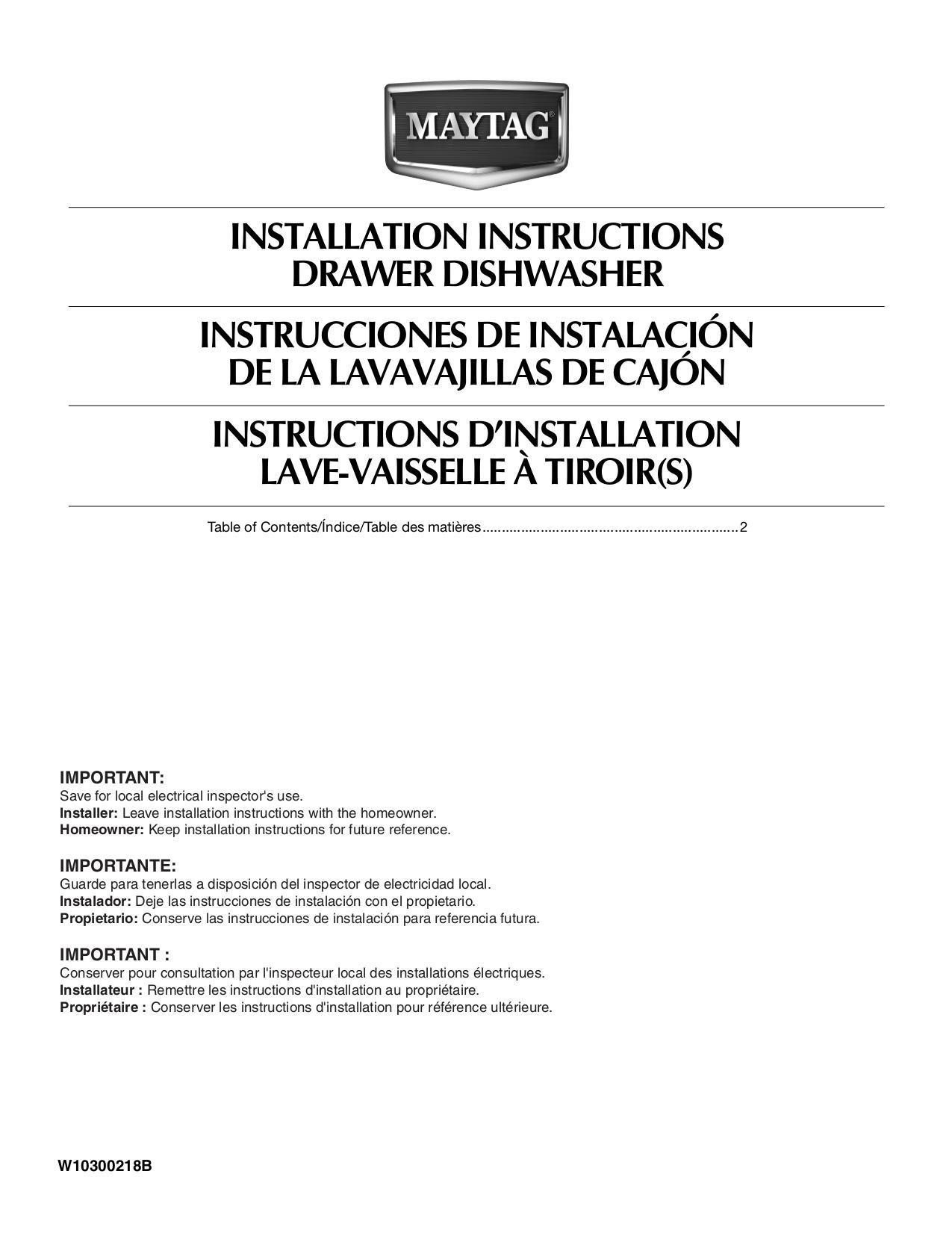 Maytag Dishwasher Installation Instructions Pdf Nemetas Mdb4651awb Parts Diagram Mdd8000aw Page Preview