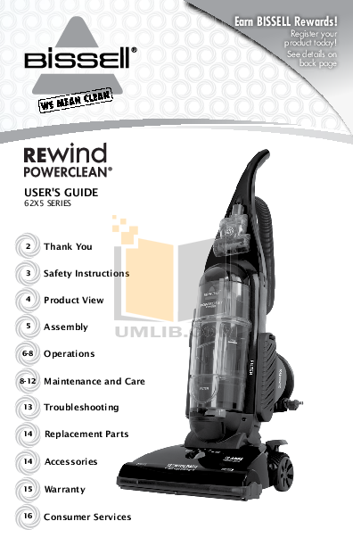 pdf for Bissell Vacuum 7100 manual