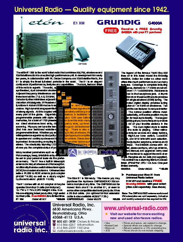 Download free pdf for eton e1xm radio manual.