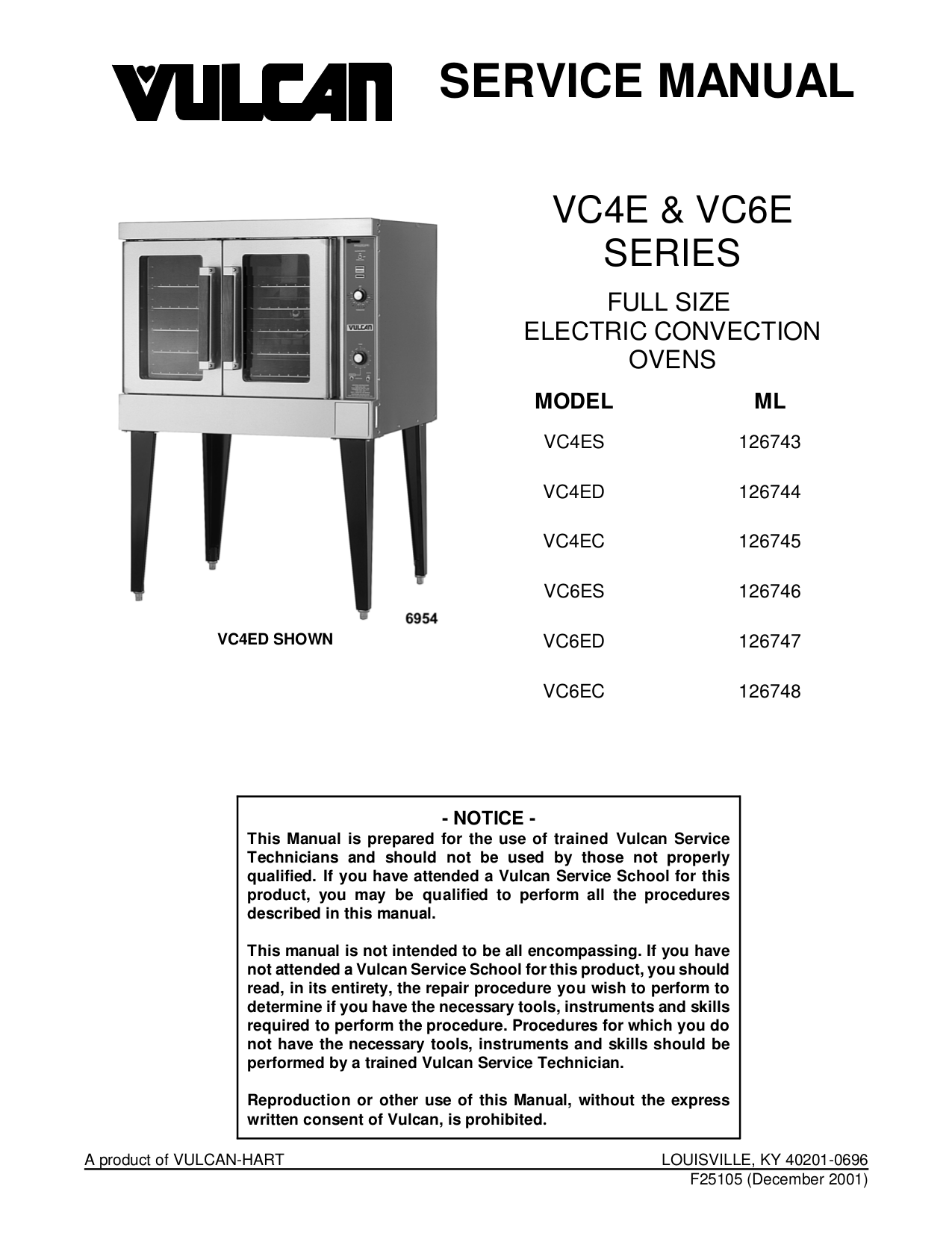pdf for Vulcan Oven VC4ED manual