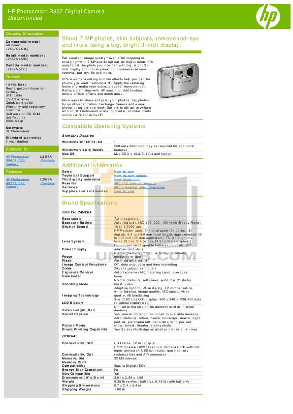 pdf for HP Digital Camera Photosmart R837 manual