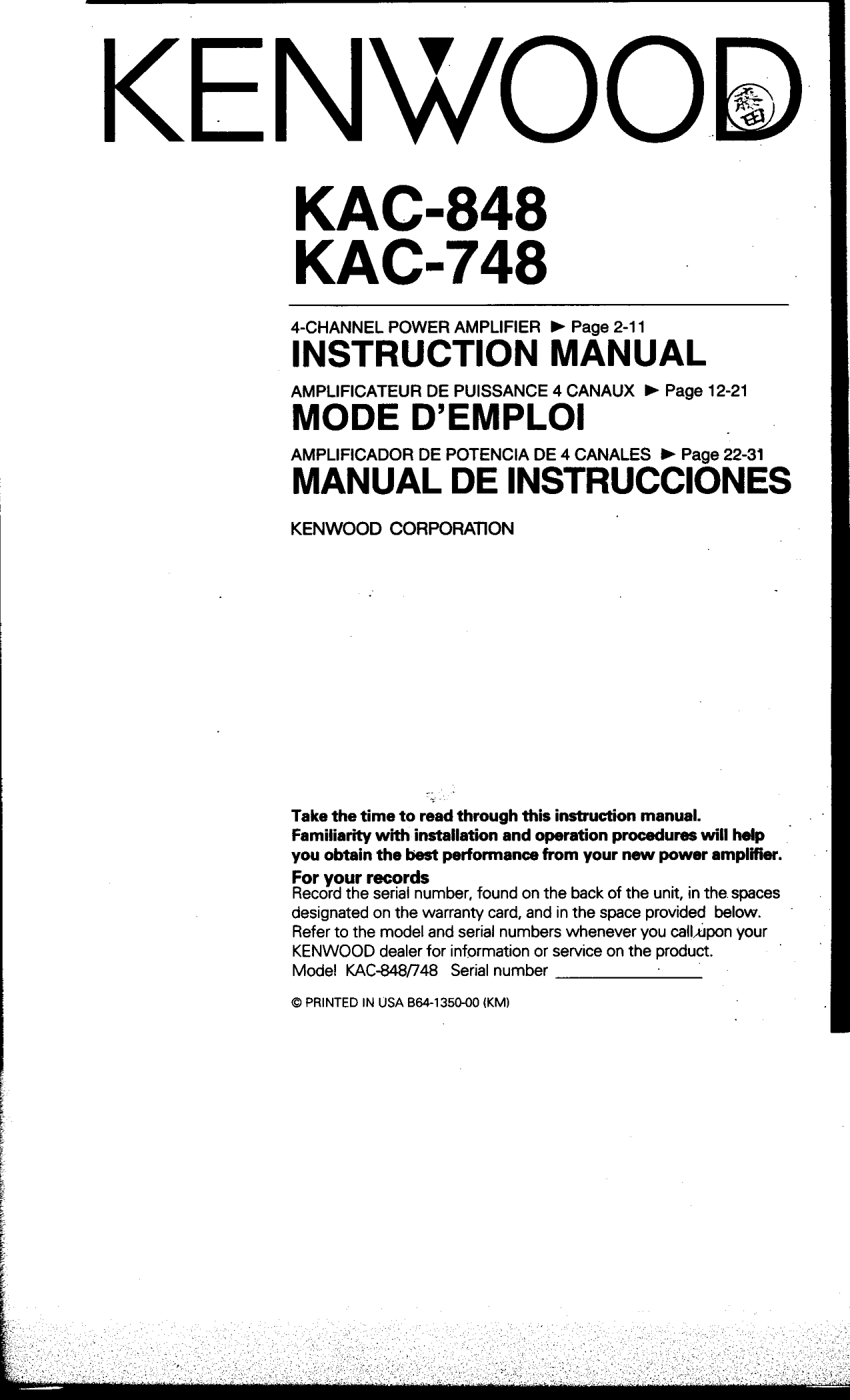 kac748.pdf 0 download free pdf for kenwood kac 848 car amplifier manual kenwood kac 7205 wiring diagram at alyssarenee.co