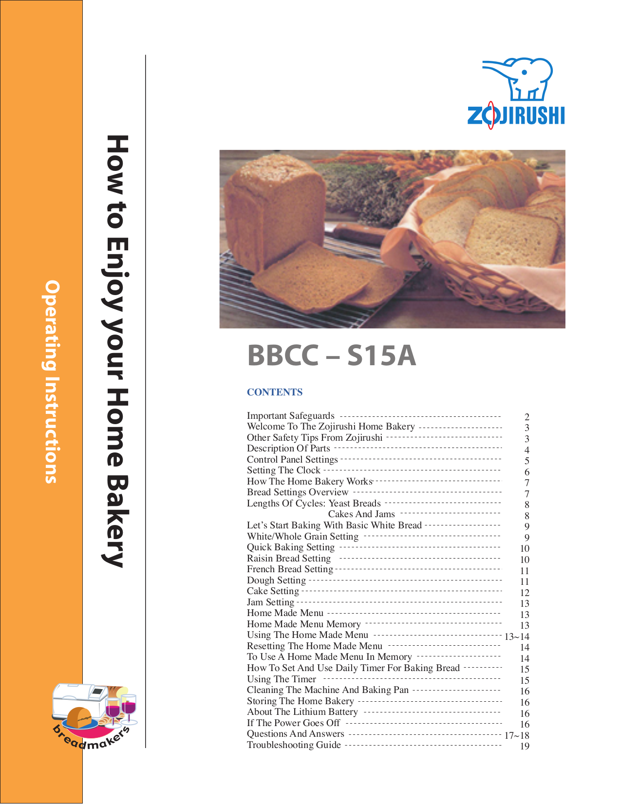 pdf for Zojirushi Other BBCC-S15A Breadmakers manual
